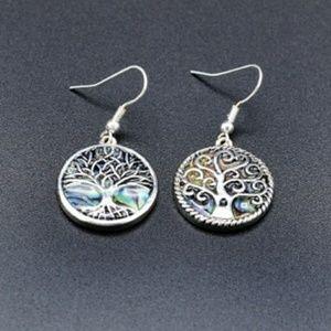 Tree of Life Whimsical Abalone Dangle Earrings